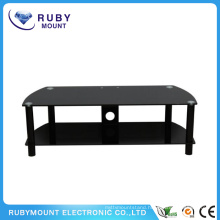 Black 60-Inch Wide Glass Flat Panel TV Stand